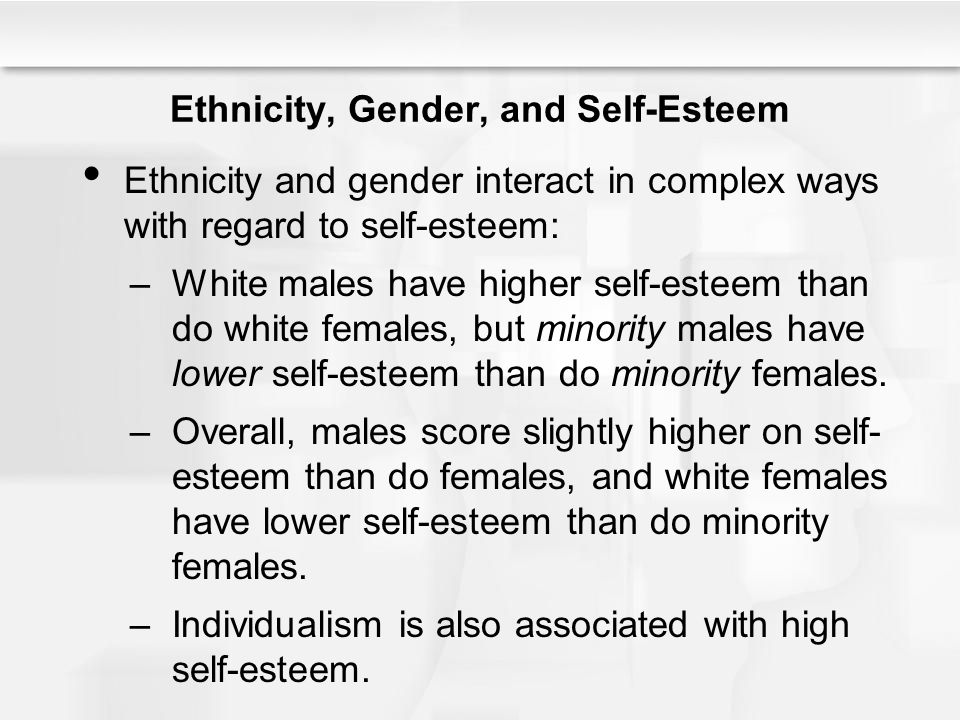 Ethnicity, Gender, and Self-Esteem