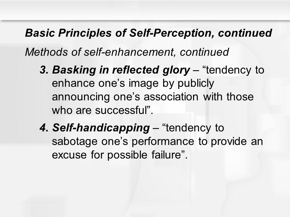 Basic Principles of Self-Perception, continued