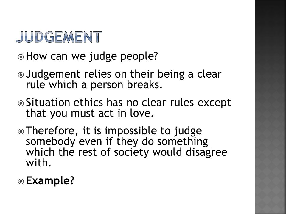 judgement How can we judge people