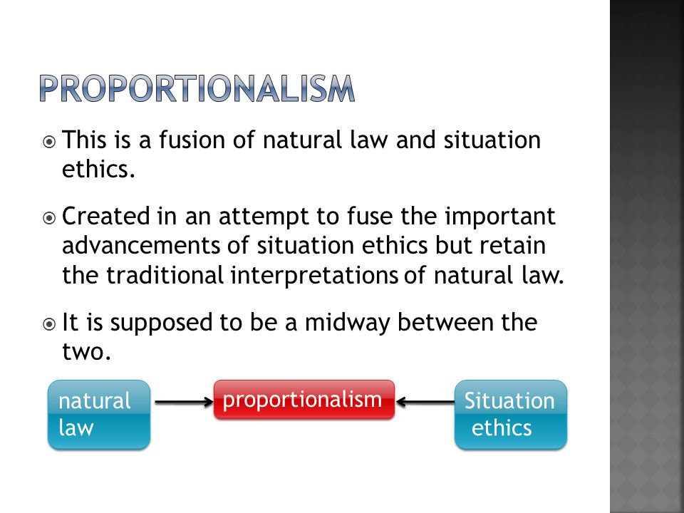 proportionalism This is a fusion of natural law and situation ethics.