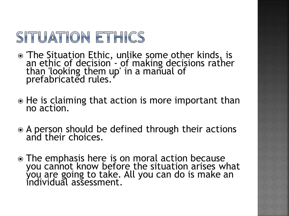 Feature article situational ethics