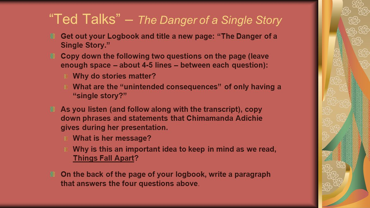 Ted Talks – The Danger of a Single Story