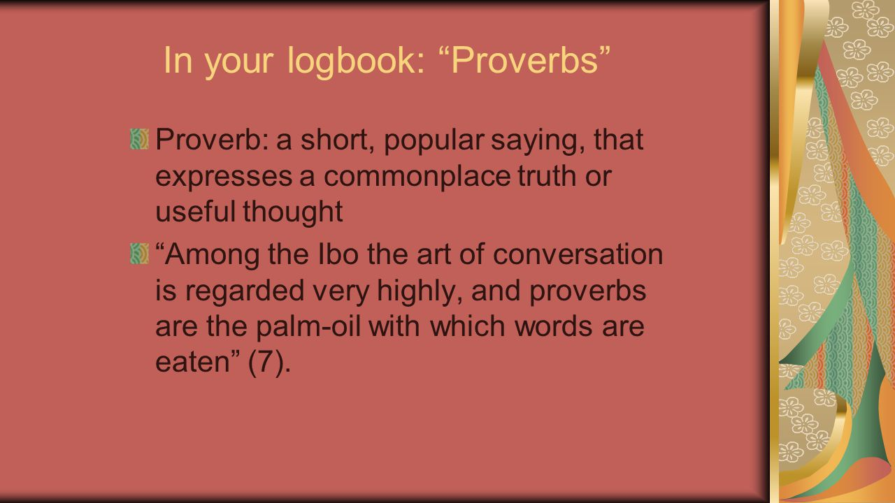 In your logbook: Proverbs