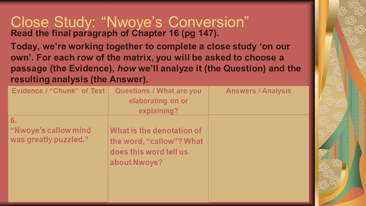 Close Study: Nwoye's Conversion