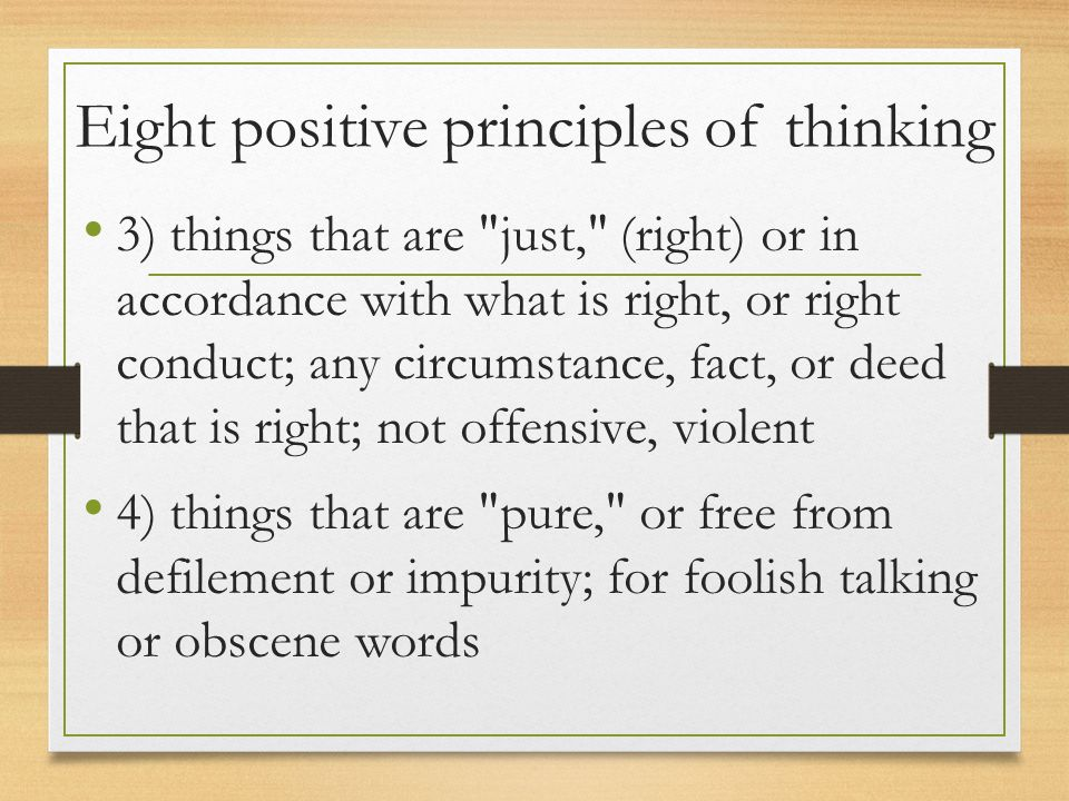 Eight positive principles of thinking