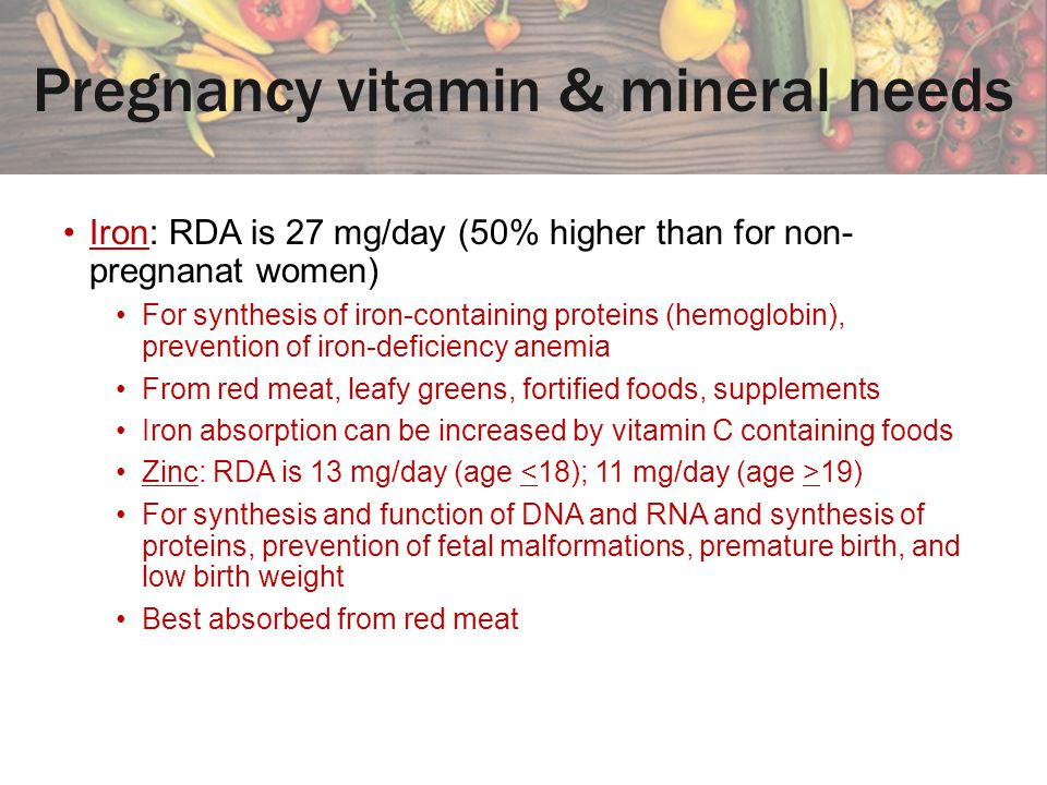 Pregnancy vitamin & mineral needs
