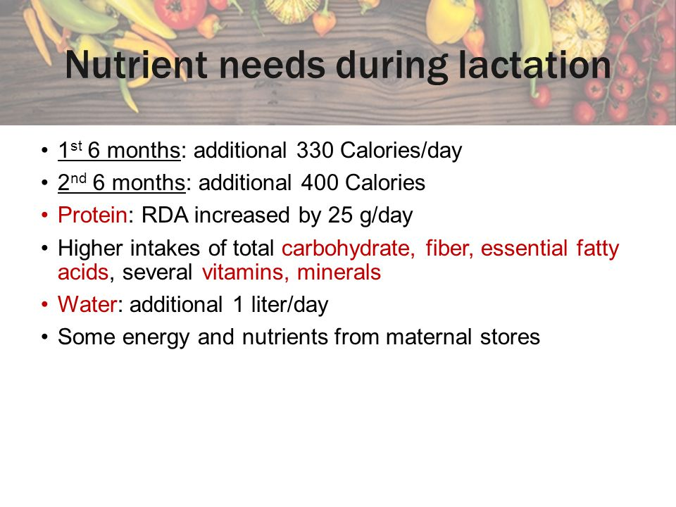 Nutrient needs during lactation