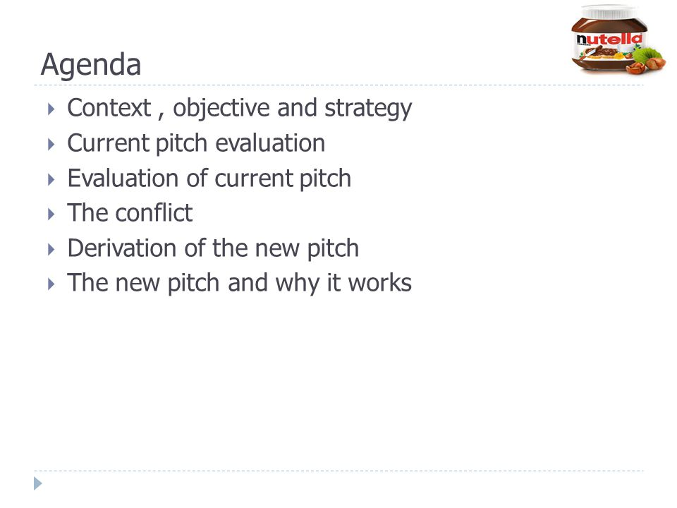 Agenda Context , objective and strategy Current pitch evaluation