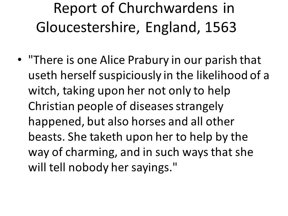 Report of Churchwardens in Gloucestershire, England, 1563