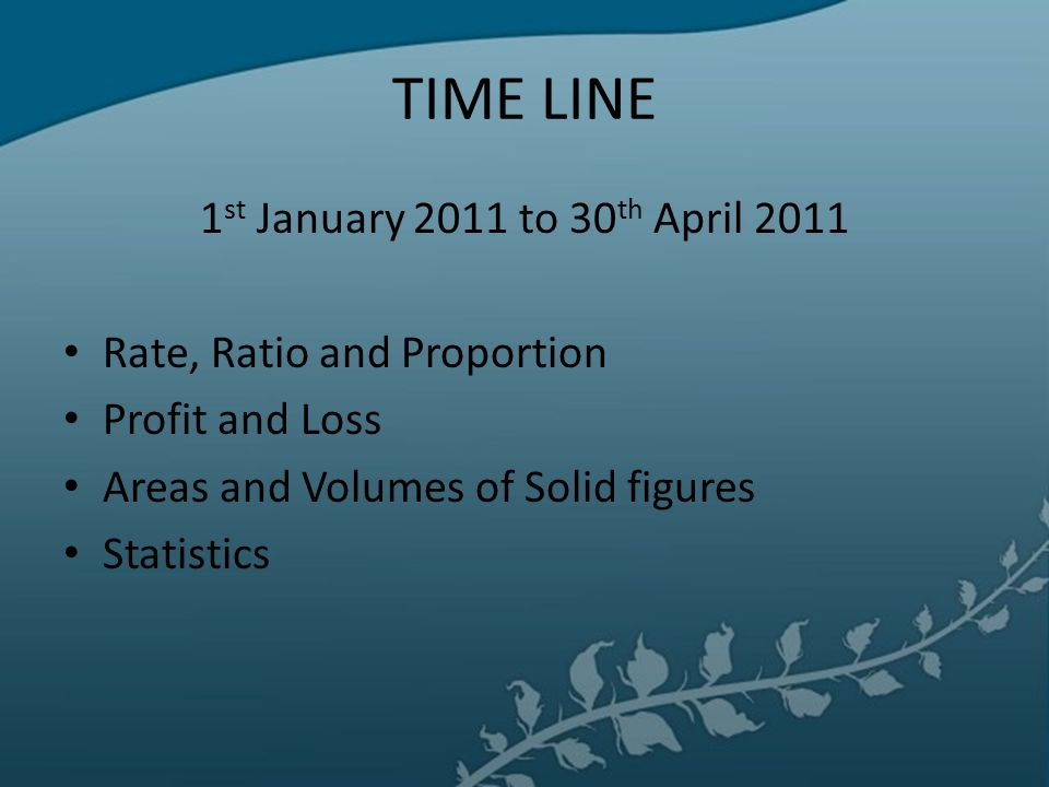 TIME LINE 1st January 2011 to 30th April 2011