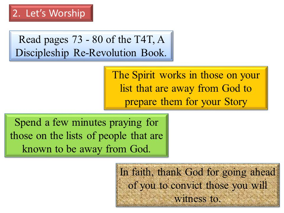 Read pages 73 - 80 of the T4T, A Discipleship Re-Revolution Book.