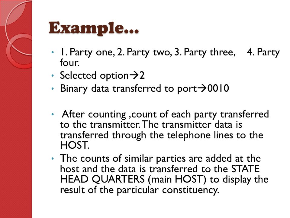Example… 1. Party one, 2. Party two, 3. Party three, 4. Party four.