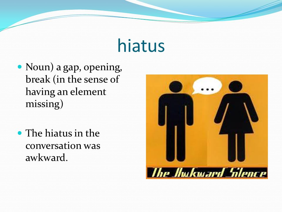 hiatus Noun) a gap, opening, break (in the sense of having an element missing) The hiatus in the conversation was awkward.