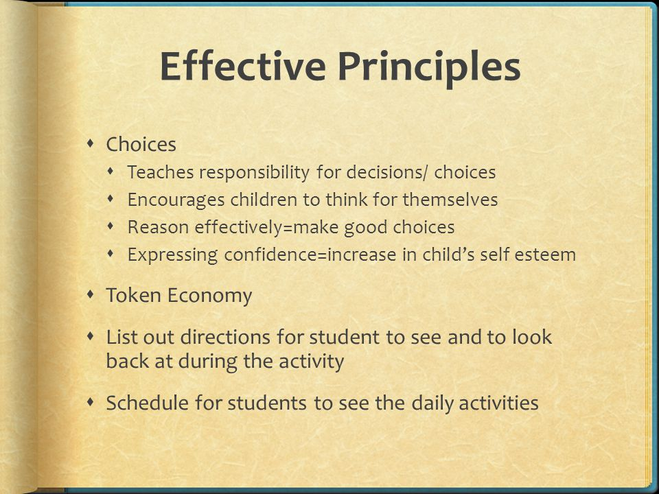 Effective Principles Choices Token Economy
