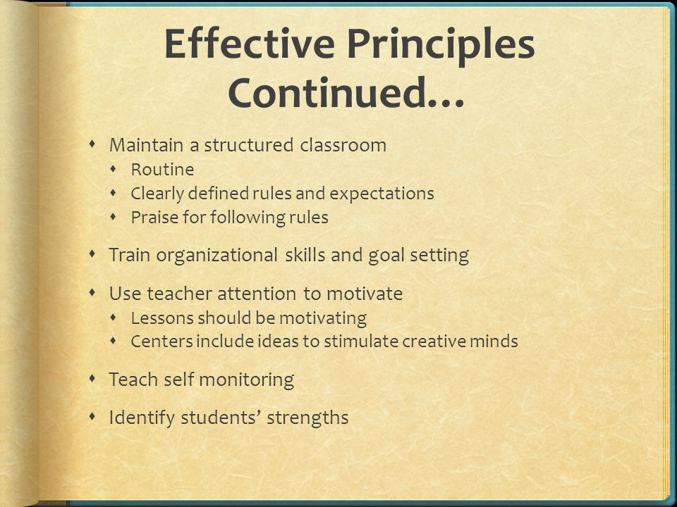 Effective Principles Continued…