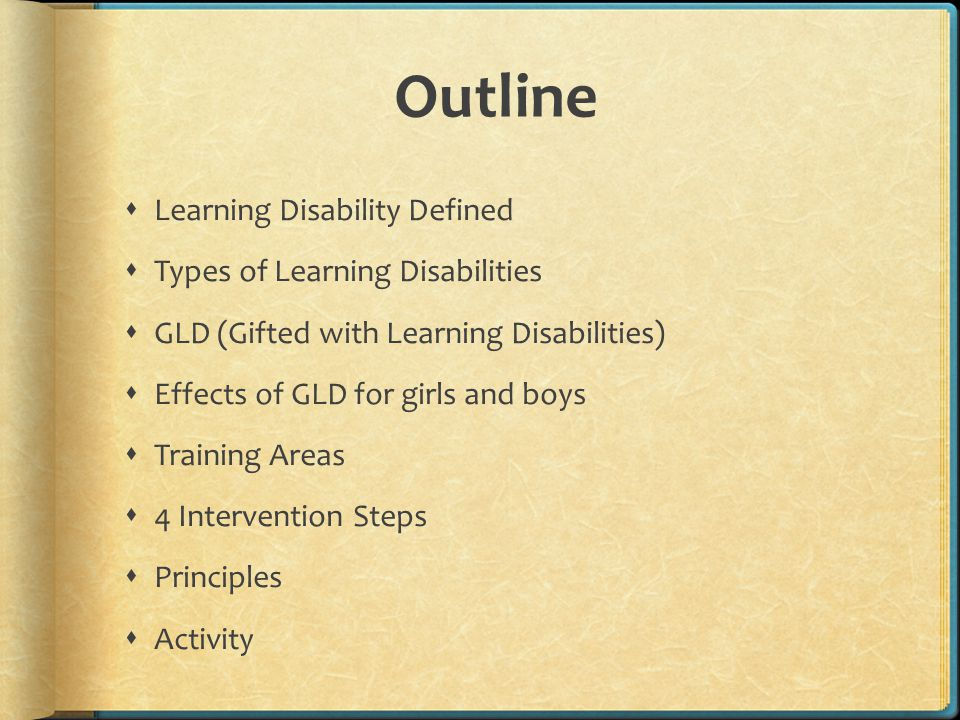 Outline Learning Disability Defined Types of Learning Disabilities