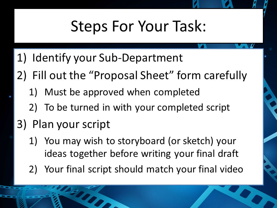 Steps For Your Task: Identify your Sub-Department