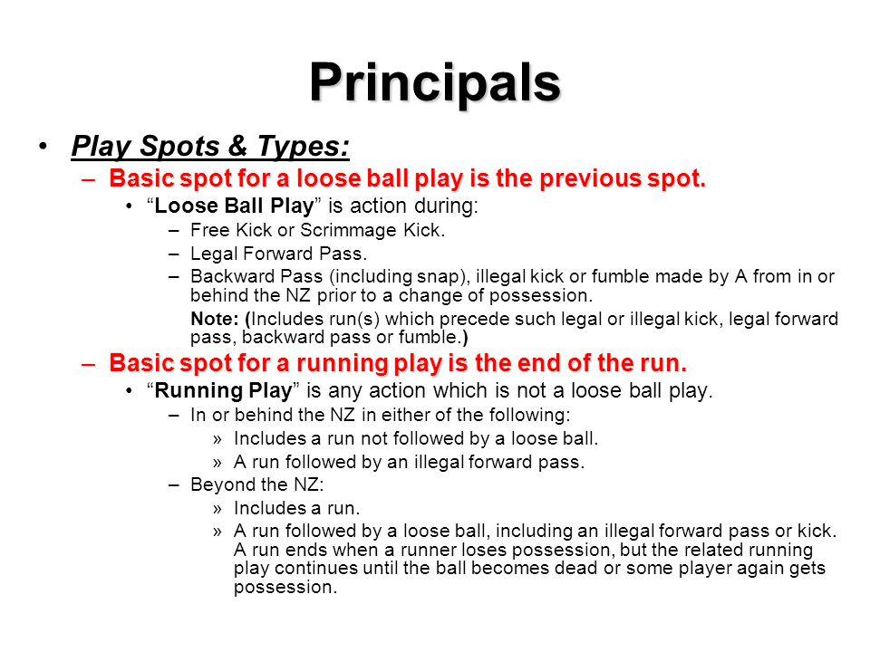 Principals Play Spots & Types: