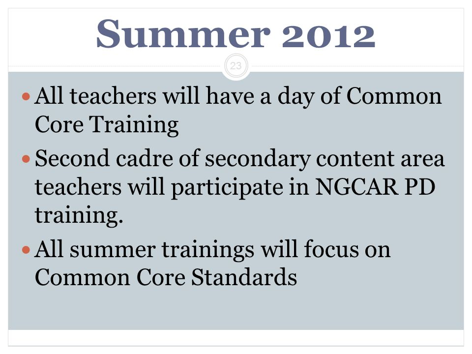 Summer 2012 All teachers will have a day of Common Core Training