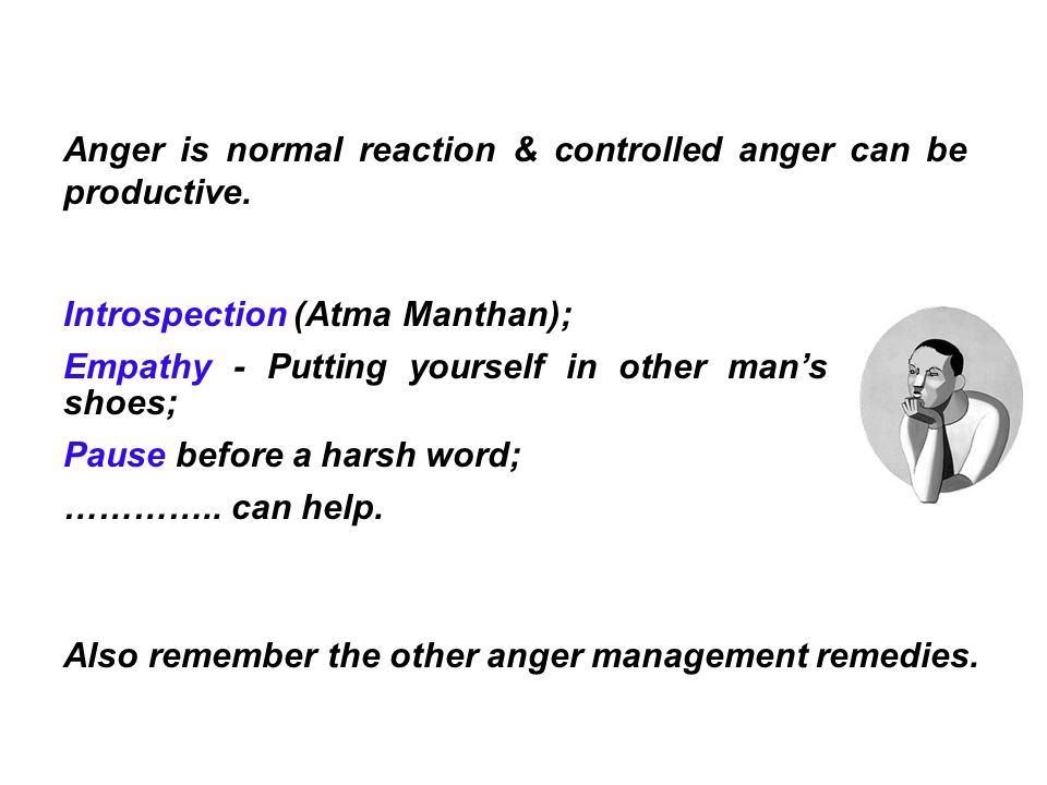 Anger is normal reaction & controlled anger can be productive.