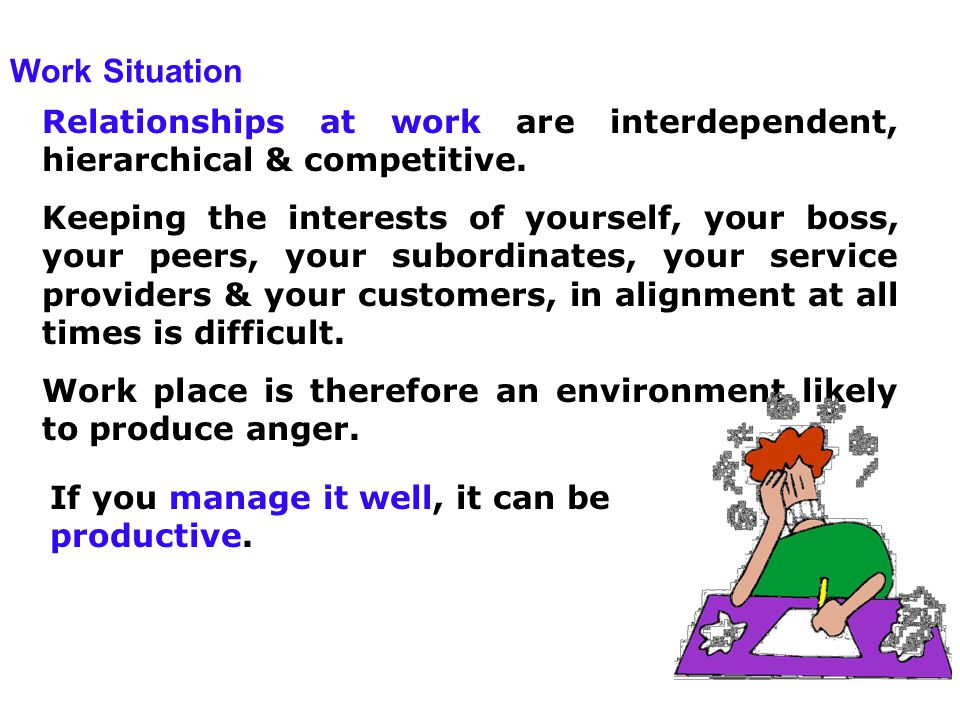 Work Situation Relationships at work are interdependent, hierarchical & competitive.