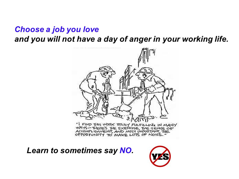 Choose a job you love and you will not have a day of anger in your working life.