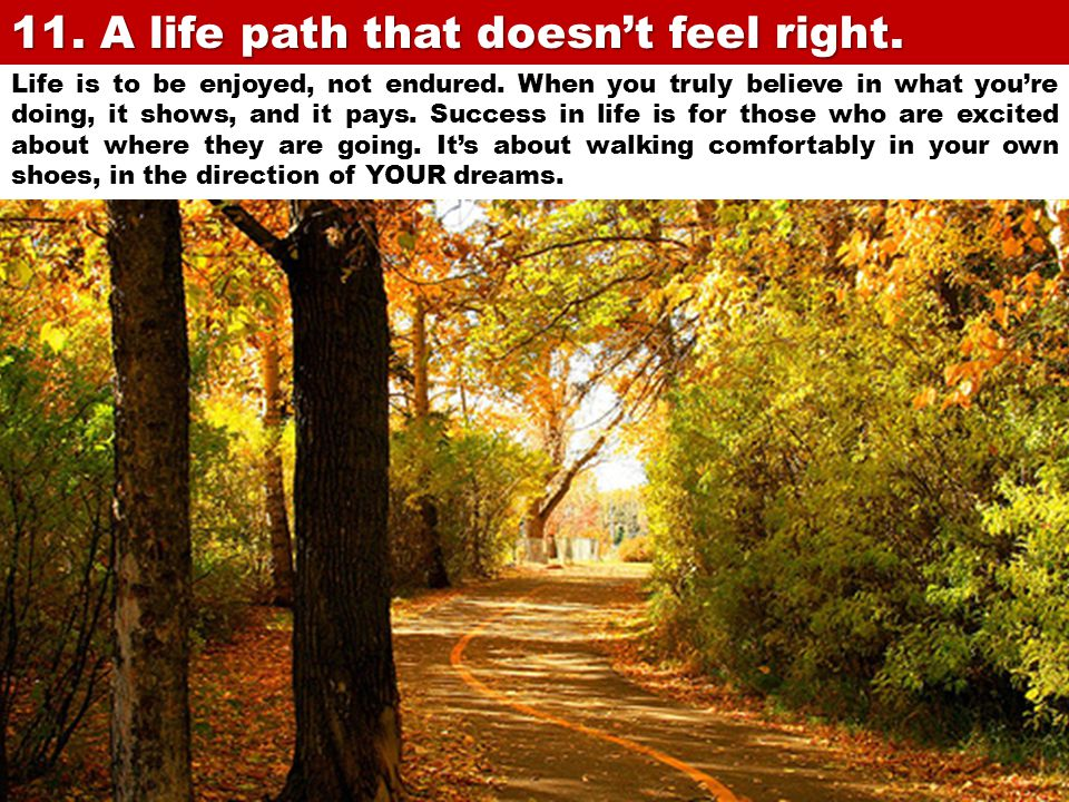 11. A life path that doesn't feel right.