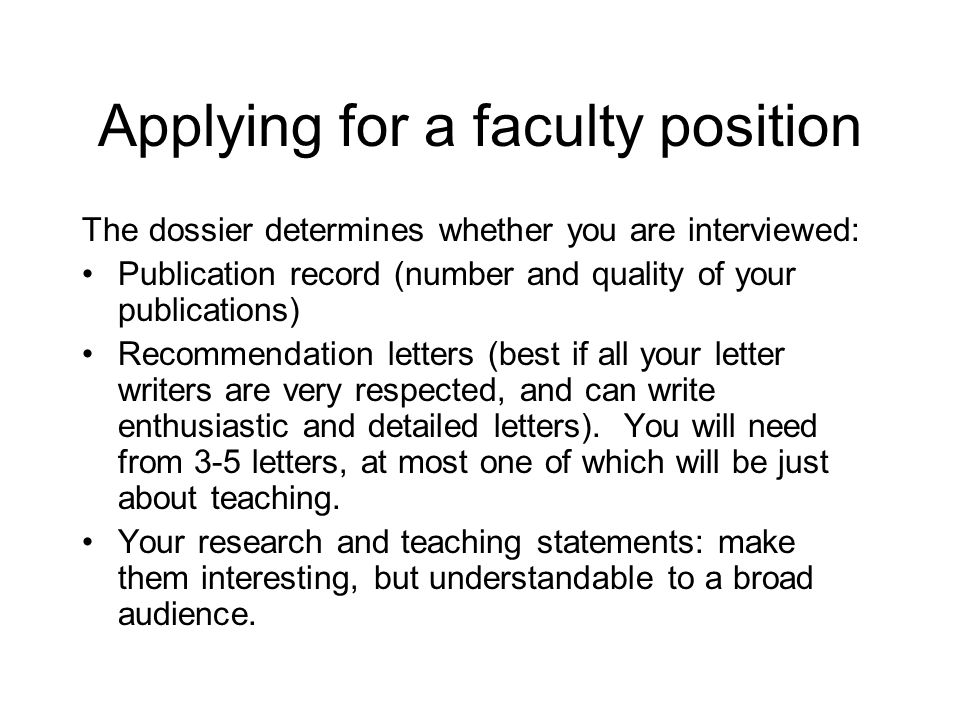 Applying for a faculty position