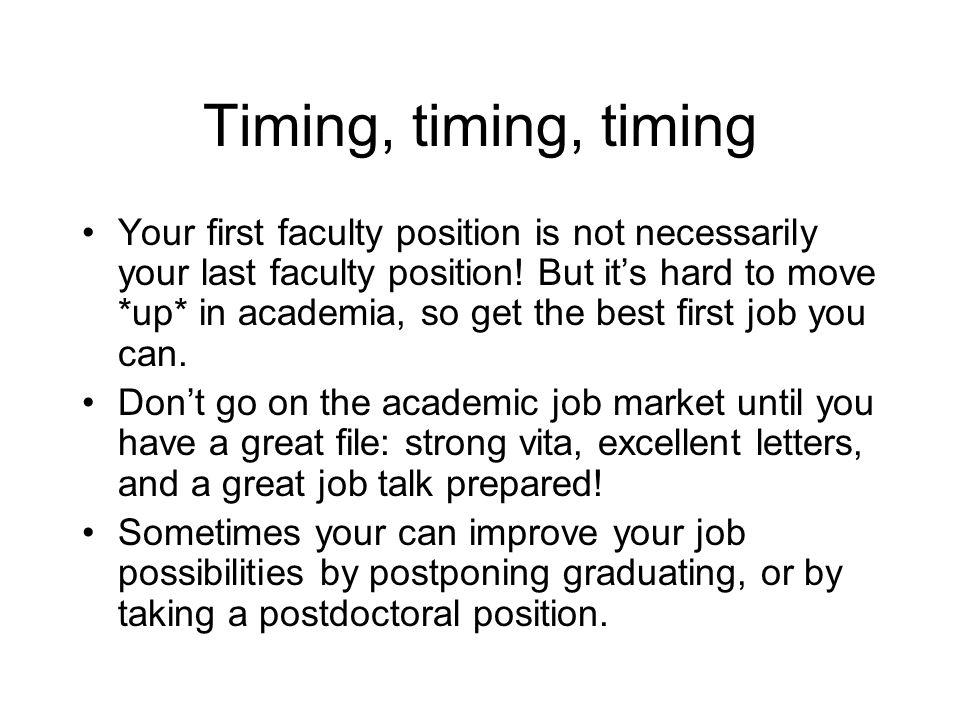 Timing, timing, timing