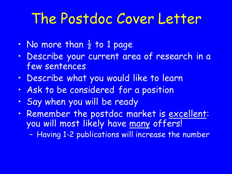The Postdoc Cover Letter
