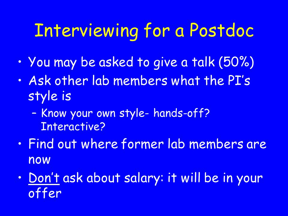 Interviewing for a Postdoc