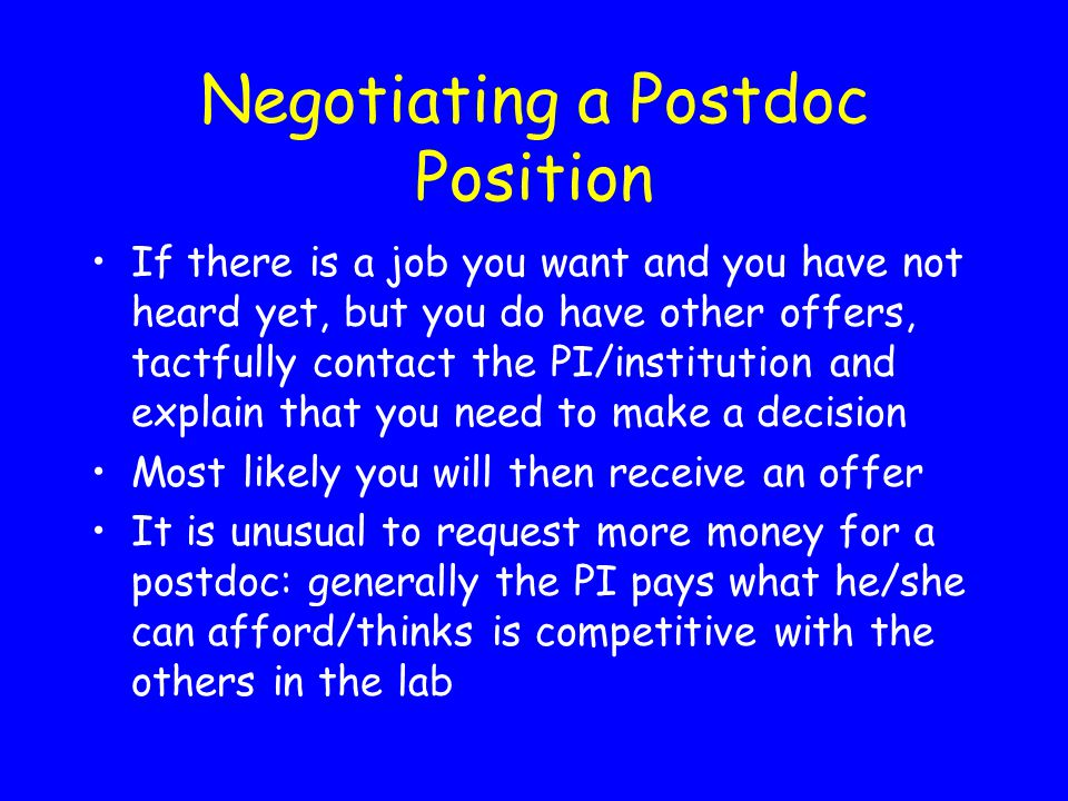 Negotiating a Postdoc Position