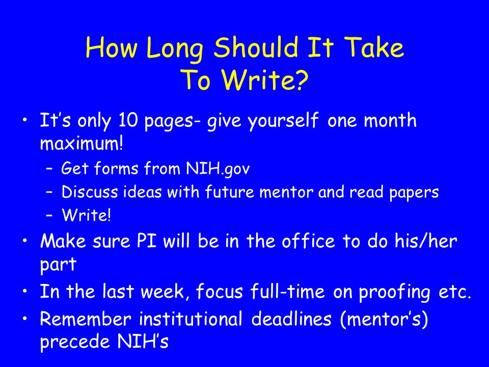 How Long Should It Take To Write