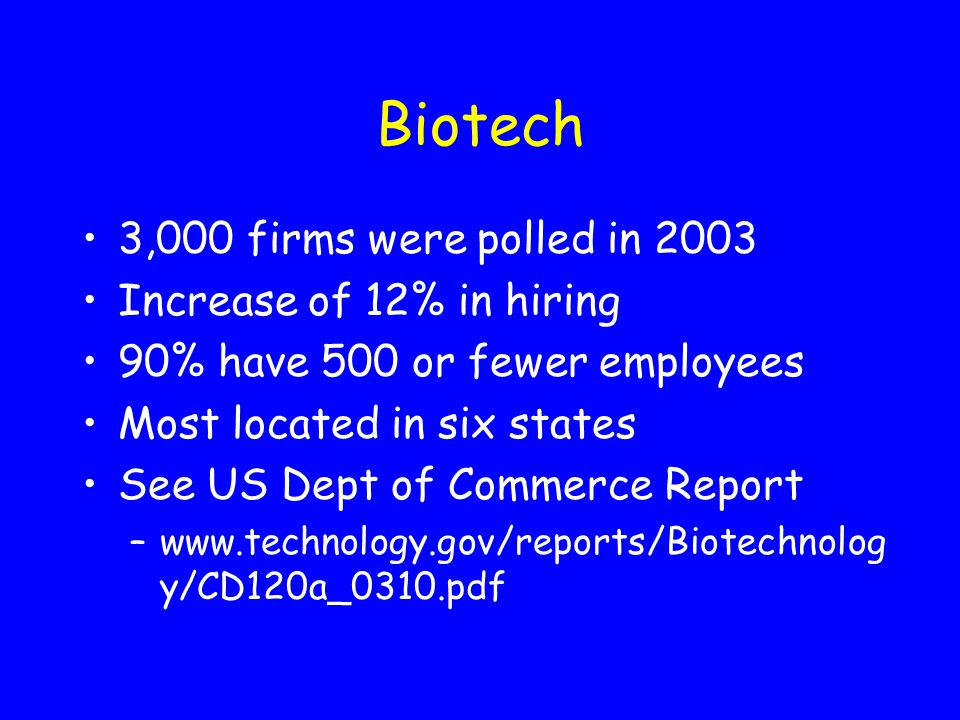 Biotech 3,000 firms were polled in 2003 Increase of 12% in hiring