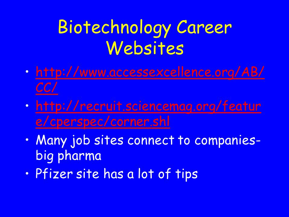 Biotechnology Career Websites