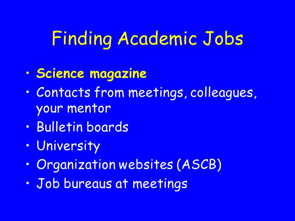 Finding Academic Jobs Science magazine