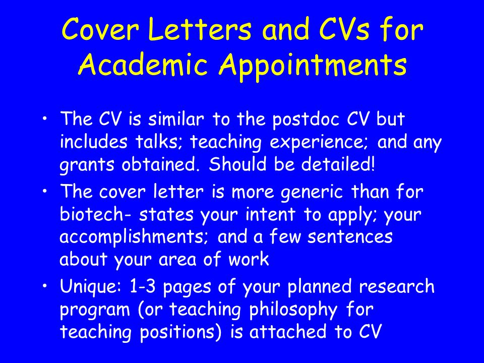 Cover Letters and CVs for Academic Appointments