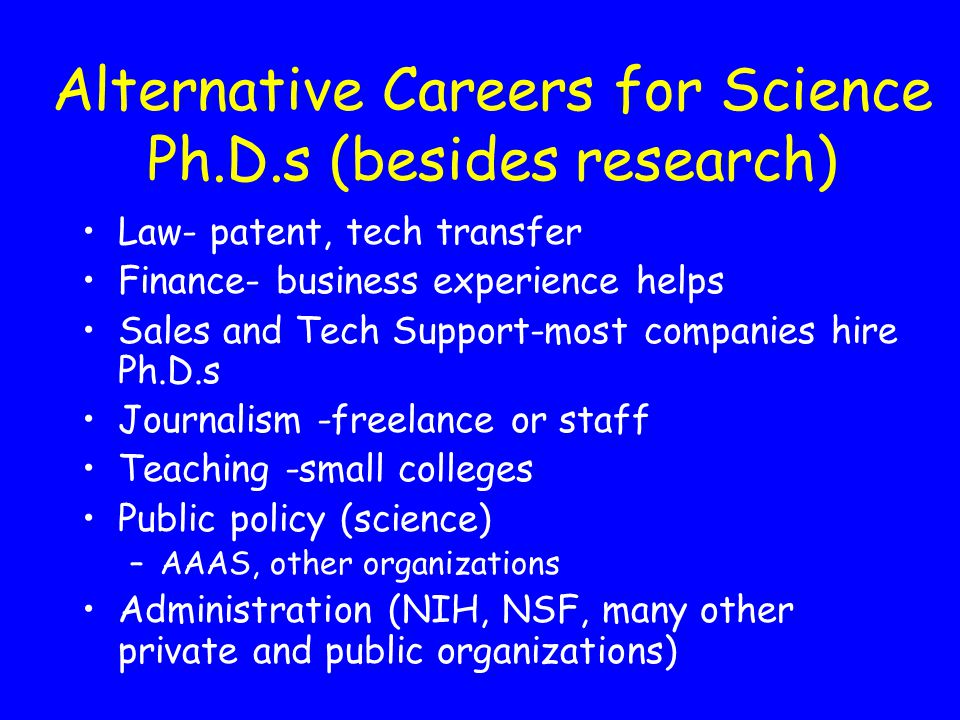 Alternative Careers for Science Ph.D.s (besides research)