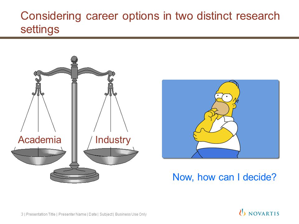 Considering career options in two distinct research settings