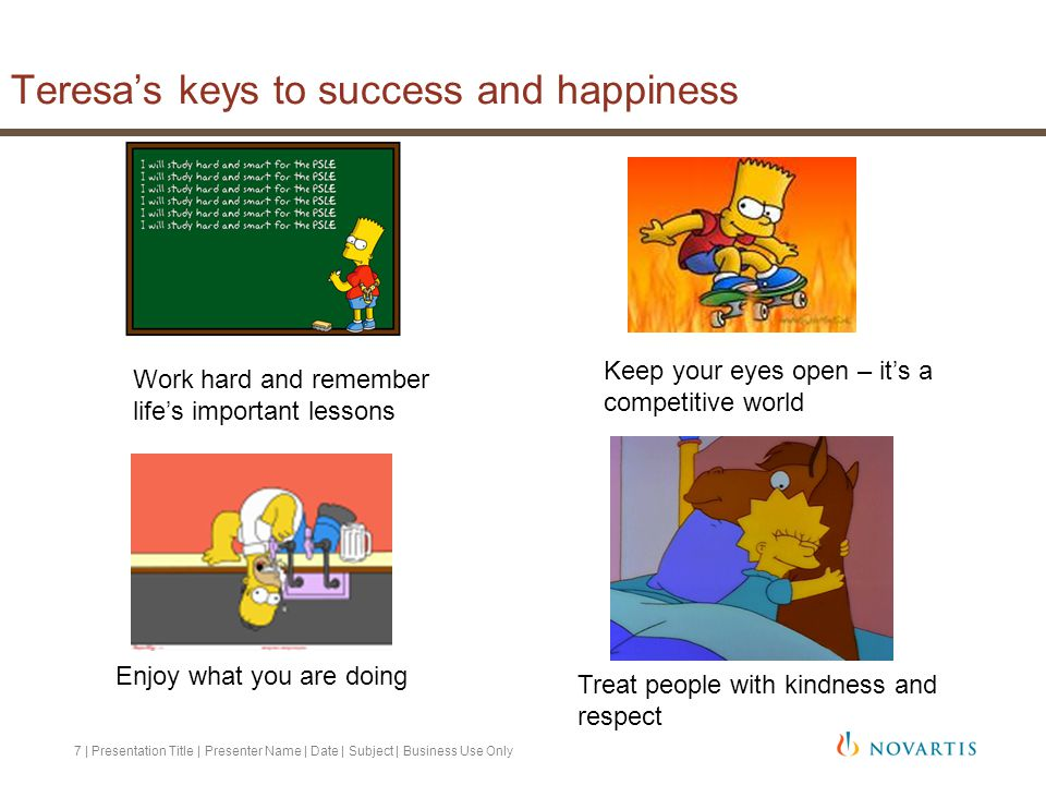 Teresa's keys to success and happiness