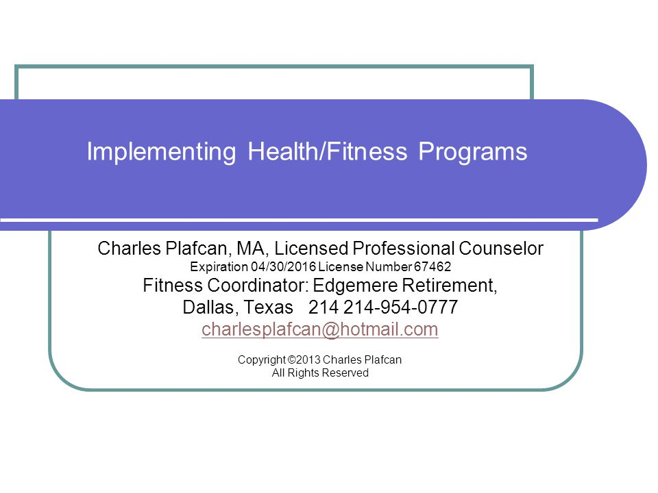 Implementing Health/Fitness Programs