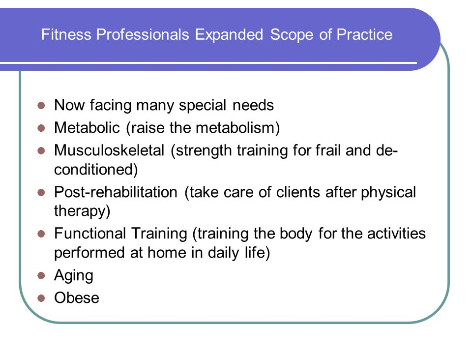 Fitness Professionals Expanded Scope of Practice
