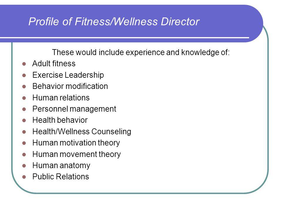 Profile of Fitness/Wellness Director