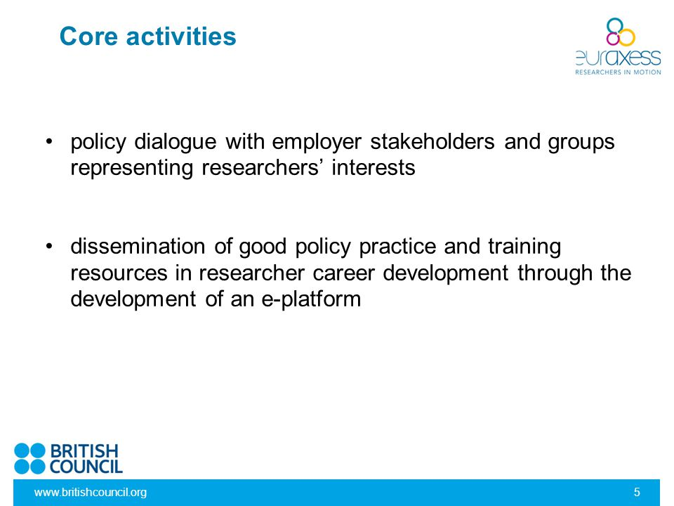 Core activities policy dialogue with employer stakeholders and groups representing researchers' interests.