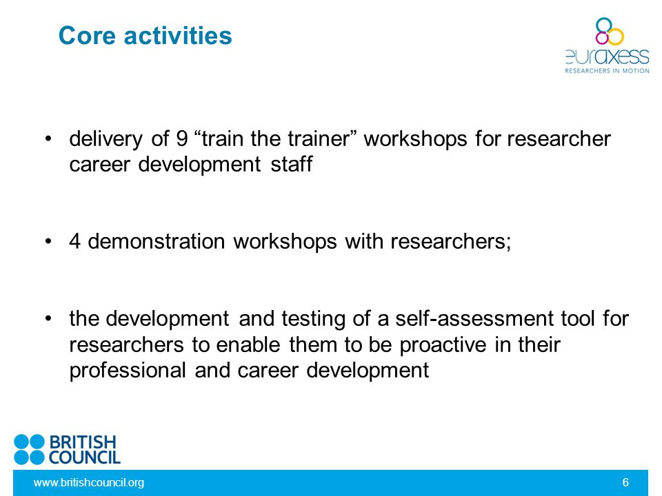 Core activities delivery of 9 train the trainer workshops for researcher career development staff.