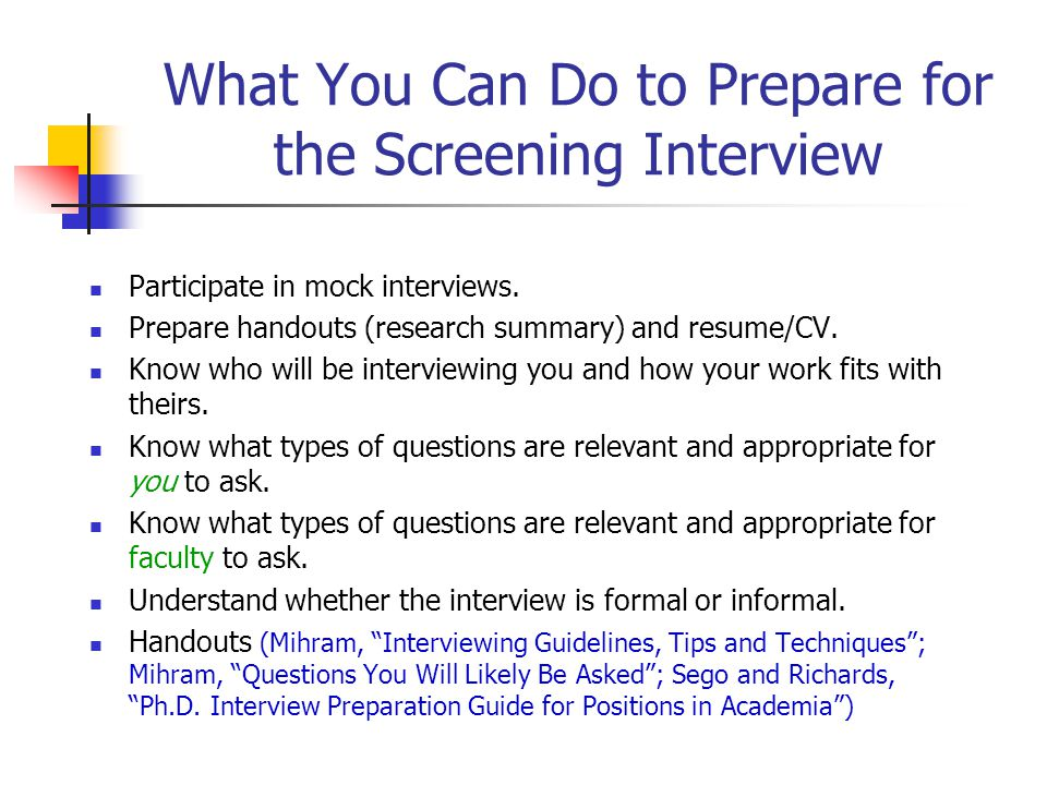 What You Can Do to Prepare for the Screening Interview