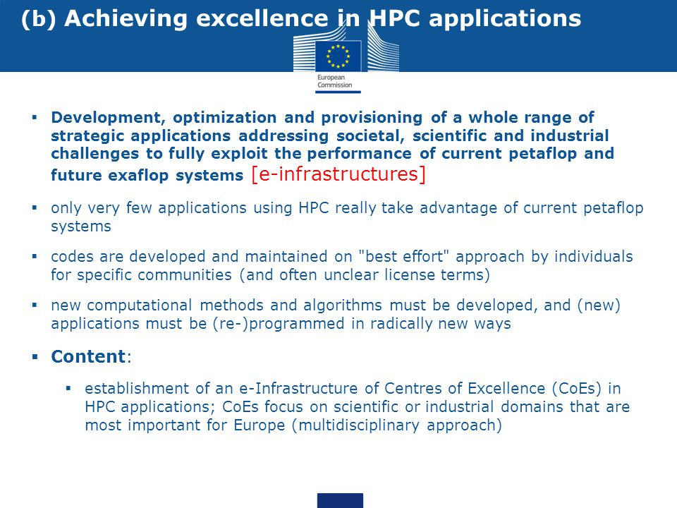 (b) Achieving excellence in HPC applications
