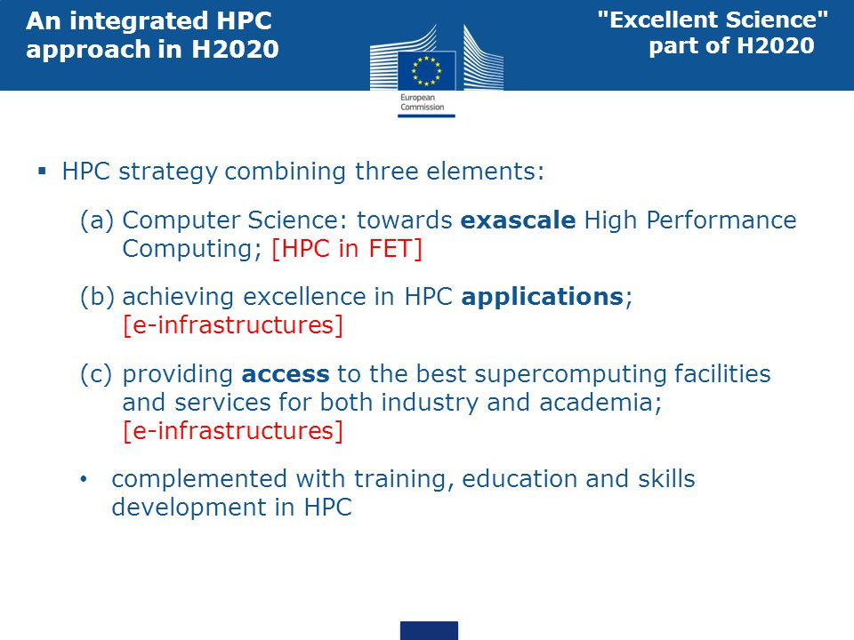 An integrated HPC approach in H2020