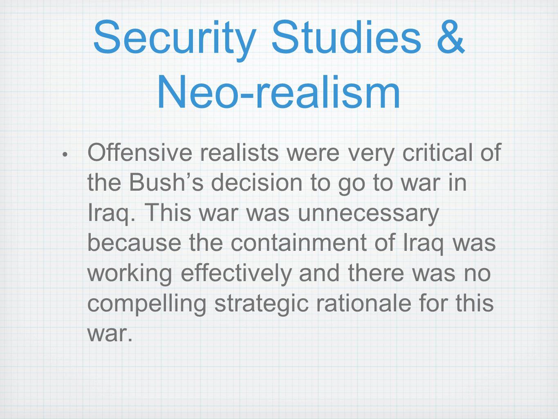 Security Studies & Neo-realism