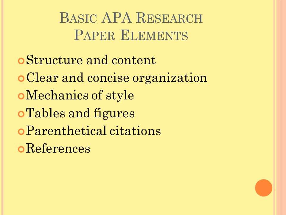 Basic APA Research Paper Elements